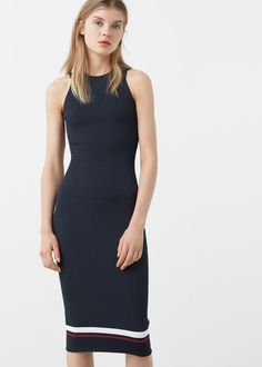 Tailored ribbed dress Color: dark navy khaki Ribbed-knit fabric Stretch fabric Stripped design Round neck Wide straps