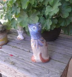 Tonala standing cat vintage Mexican pottery by TreasuresFromTexas on Etsy