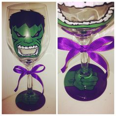 The Hulk hand painted wine glass Marvel