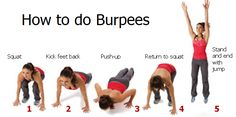 How To Do Burpees And Get Fit. Have you included burpees in your workout plan? They have so many benefits to offer. Fitness Workouts, Sport Fitness, Body Fitness, Fitness Tips, Fitness Motivation, Quick Workouts, Health Fitness, Fitness Bootcamp, Exercise Motivation