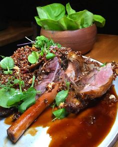 Fall off the bone tender! Loved @tuomenyc's beautifully braised tender #Lambshank for two w/ red quinoa. It's served w/ a side of Bibb lettuce & the most amazing #salsaverde so you can make your own perfect wrap. It's absolutely delectable and a must-try during @nycrestaurantweek! Many thanks to Chef @tuomechen for another wonderful dinner!  #tuomenyc #lamb #nycdining #eastvillage #NYCRestaurantWeek #jeaniuseats