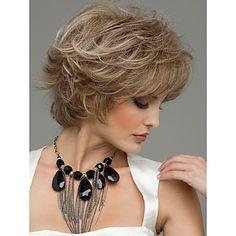macio novo estilo de alta qualidade sem tampa curto ondulado mono cabelo humano top perucas doze cores para escolher - BRL R$ 170,97