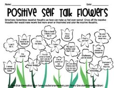 Flower Positive Self Talk-- Cute idea to take and run with. Teaching children positive self talk rather than negative can help prevent some issues and these phrases are great coping skills reminders. Self Esteem Worksheets, Self Esteem Activities, Social Emotional Activities, Therapy Worksheets, Counseling Activities, Coping Skills Activities, Articulation Activities, Social Work Activities, Group Therapy Activities
