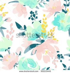 Vector watercolour floral pattern, delicate flowers, yellow, blue and pink flowers, greeting card template Mural Floral, Flower Mural, Flower Wall, Blush Nursery, Mint Nursery, Nursery Crib, Crib Bedding, Watercolor Background, Watercolor Flowers