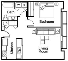 Add desk/dining table and storage to living room. No natural light in bathroom, so maybe use some full spectrum lighting. Guest House Plans, Small House Floor Plans, Cabin Floor Plans, Cottage House Plans, Small Cottage Designs, Small House Design, Studio Floor Plans, Casa Loft, Model House Plan