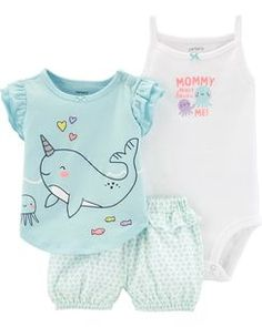 Carter's Baby Girls Cotton T-Shirt, Bodysuit & Printed Shorts Set - Blue 9 months Baby Outfits, Toddler Outfits, Kids Outfits, Toddler Fashion, Boy Fashion, Fashion Clothes, Fashion Dresses, Stylish Clothes, Fashion Dolls