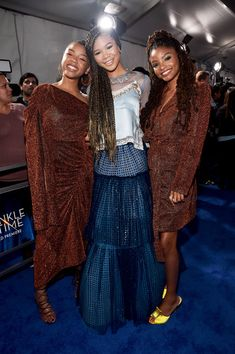 Storm Reid Photos - (L-R) Actors Chloe Bailey, Storm Reid, and Halle Bailey arrive at the world premiere of Disney's 'A Wrinkle in Time' at the El Capitan Theatre in Hollywood CA, March - World Premier Of Disney's 'A Wrinkle In Time' Black Actors, Black Celebrities, Celebs, Black Girls Rock, Black Girl Magic, Black Is Beautiful, Most Beautiful Women, Chloe Halle, Lab