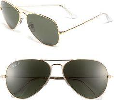 Women's Ray-Ban 'Original Aviator' 58Mm Polarized Sunglasses - Black