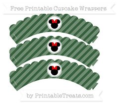 Free Hunter Green Diagonal Striped  Minnie Mouse Scalloped Cupcake Wrappers
