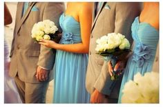 linen with turquoise with white bouquet (this is the look we want, just using a brighter turqoise, a ligther linen color, and babys breath)