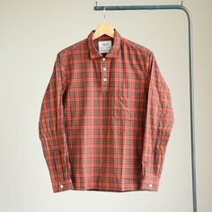 YAECA - Button Pullover Shirt #red check