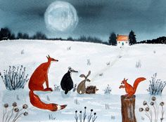 Original Watercolour Painting: ANIMALS: FOX, BADGER, HARE, HEDGEHOG & SQUIRREL | eBay