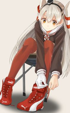Pixiv Id 3599817, Kantai Collection, Amatsukaze (Kantai Collection), Red Footwear, Sneakers