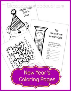 New Year's Coloring Pages for 2014!