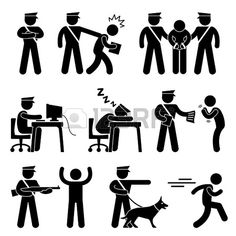 Security Guard Police Officer Thief Icon Symbol Sign Pictogram photo