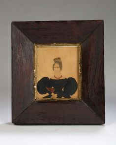 watercolor miniature of a woman seated in a fancy chair
