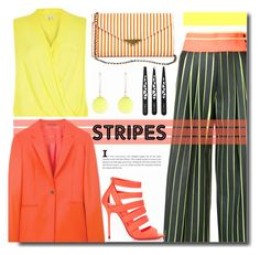 """Strong Stripes: Graphic Striped Pants"" by kts-desilva ❤ liked on Polyvore featuring Martina Spetlova, River Island, Sole Society, Paul Smith, Jimmy Choo, Alexis Bittar and stripedpants"