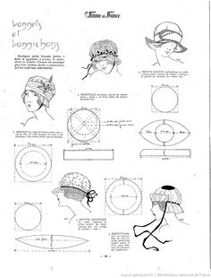 Bonnets and hats La Femme de France Hat pattern ✿ Doll Clothes Patterns, Doll Patterns, Clothing Patterns, 1920s Hats, Patron Vintage, Hat Tutorial, Retro Mode, Diy Hat, Cloche Hat