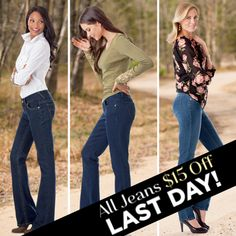 Last day to get $15 off your next pair of luxuriously long jeans, so if you haven't already, head on over! longelegantlegs.com/jeans #LegsForDays #TallJeans #Denim #FlashSale