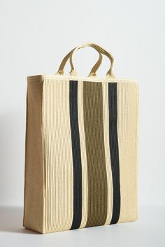Cream tote bag with khaki and black stripes. Fully lined. Made in Italy. 16e0af9cb8
