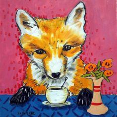 fox at the coffee shop ANIMAL ceramic coaster art tile