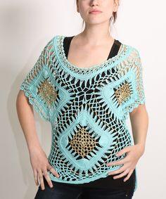 Look at this #zulilyfind! Mint Crochet Cape-Sleeve Top by Shoreline #zulilyfinds