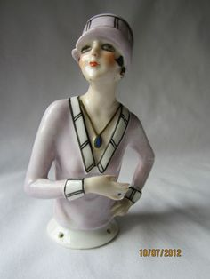 "Vintage Art Deco 4"" inch Flapper Girl Half Doll Pin Cushion German 