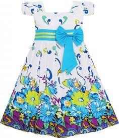 Mädchen Kleid Blau Blume Kurz Ärmel Party: Amazon.de: Bekleidung