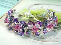 Swarovski Bracelet Magic Purple Flowers Swarovski by candybead, $45.00