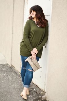 Olive Curvy Long Sleeve Top - My Sisters Closet