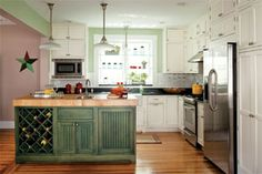 "detailed information from ""This Old House"" on how to properly prepare & paint kitchen cabinets to last."