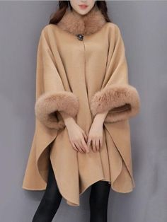 Faux Fur Collar Frayed Trim Plain Batwing Sleeve Coat Fashion girls, party dresses long dress for short Women, casual summer outfit ideas, party dresses Fashion Trends, Latest Fashion # Fur Collar Coat, Fur Collars, Fur Coat, Wool Coat, Winter Cloak, Mode Mantel, Coats For Women, Clothes For Women, Fluffy Coat