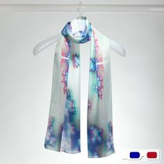 3D Fractal Silk Oblong Scarf