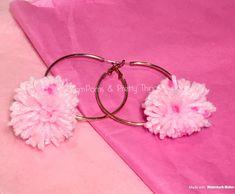 Pink PomPom Earrings, PomPom Earrings, Hoop PomPom Earrings, Earrings, Hoop Earrings, Statement Earrings, Gift Earrings, Girly Earrings by PomPomsPrettyThings on Etsy