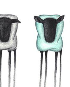 Otton Art - Three sheep - one turquoise - print A4- Art by Linda Otton