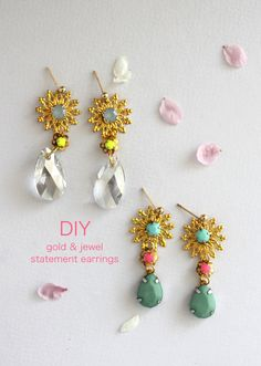 DIY gold & jewel statement earrings tutorial