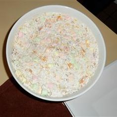 Ambrosia Fruit Salad Allrecipes.com    haven't had this in forever...and it sounds really good now