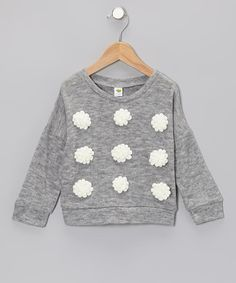 Take a look at this Gray Flower Sweater - Toddler & Girls by Dino Bebe on #zulily today!
