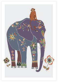 Indian Elephant 2 nursery art, Kids room decor, playroom wall art. $22.00, via Etsy.