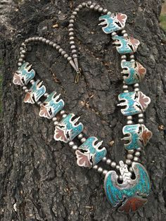 Southwestern Peyote Bird Squash Blossom Necklace Sterling Inlay Turquoise Coral