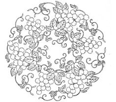 grapes-outline for embroidery design Mandala Coloring, Colouring Pages, Adult Coloring Pages, Coloring Books, Hand Embroidery Patterns, Embroidery Applique, Embroidery Designs, Wood Burning Patterns, Parchment Craft