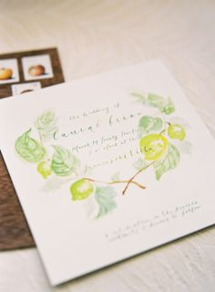 Green and Yellow Watercolor Invitation by Dear Jendo   photography by http://www.jenhuangphoto.com/   floral design by http://sarahwinward.com/  