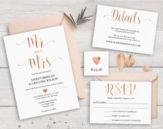 Rose Gold Wedding Invitation Suite Template by NovaPrintables