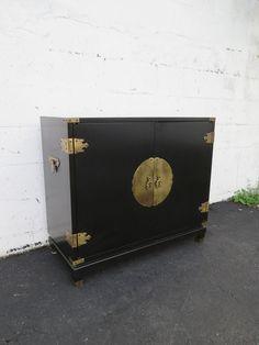Hollywood Regency Black Painted Bar Liquor Cabinet Server by Permacraft 8690  | eBay