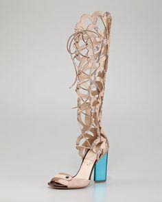 #NicholasKirkwood Scalloped Snakeskin Sandal Boot #shoes #gladiator #fashion