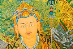 Abstract: Guru Rinpoche with Mahasiddhas & Dakinis. Fusion of Mendri & Karma Gadri styles.