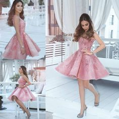 A-Line Spaghetti Straps Short Pink Homecoming Dress,A-Line Sleeveless Short Party Dress