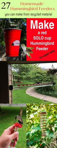27 Homemade Hummingbird Feeders From Recycled Material - The Self-Sufficient Living Bird Feeder Plans, Diy Bird Feeder, Humming Bird Feeders, Homemade Hummingbird Feeder, Homemade Bird Feeders, Hummingbird Garden, Fun Crafts For Kids, Diy And Crafts, Birds And The Bees