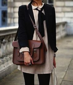 maroon leather satchel, white dress with collar, black cardigan, black sheer tights