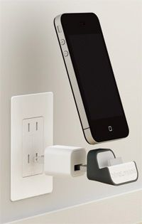 BlueLounge MiniDock ($25) - get rid of your USB cable! very nice idea, Apple-ish design.